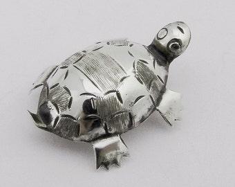 Vintage Turtle Brooch Sterling Silver