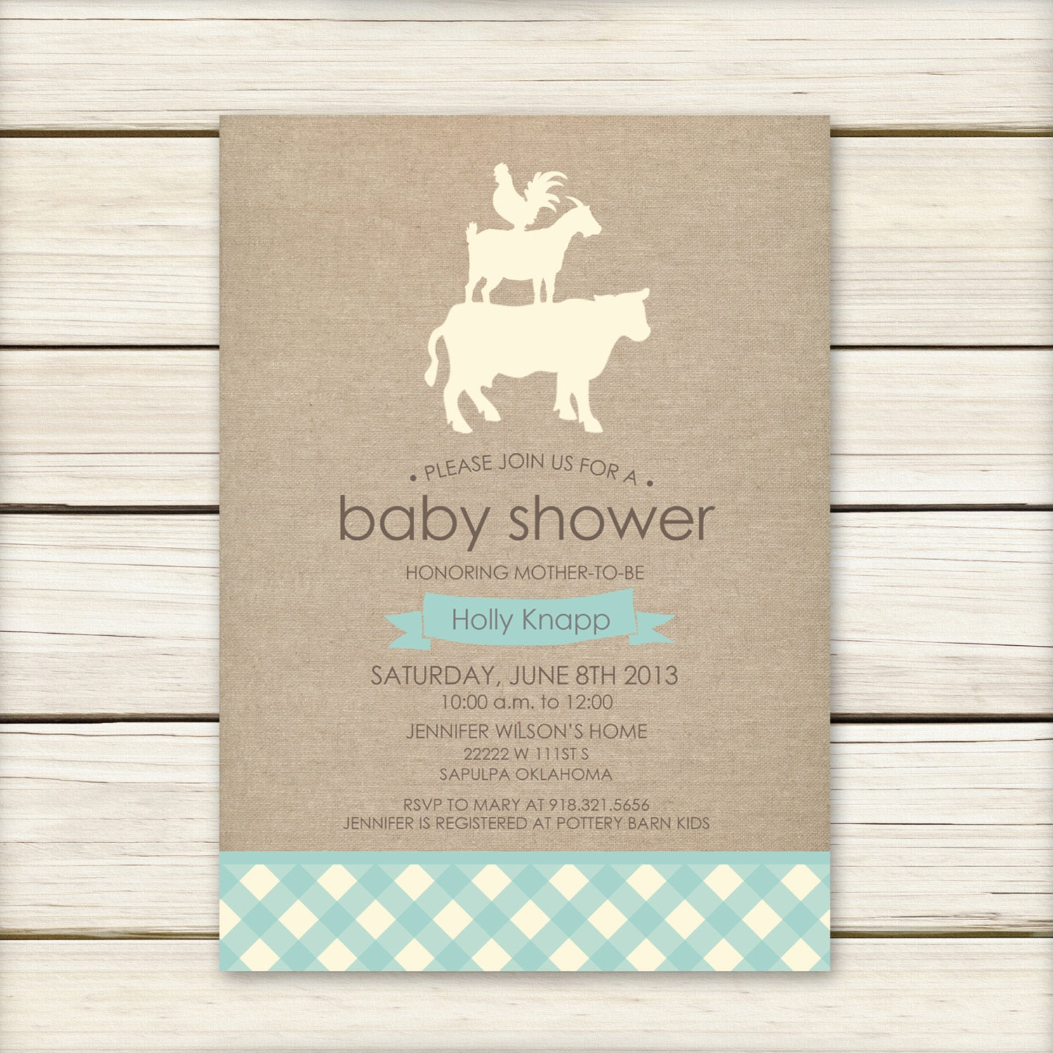 farm baby shower invitation baby shower invitaiton blue