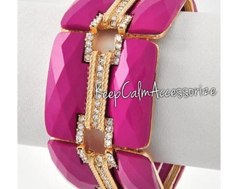Gold Tone & Fuchsia Stretch Bracelet with Clear Rhinestones