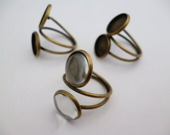 Kit Brass Double Cameo Ring of 12 mm with Glass_CA3221578BY_Rings_Double_pack 3 pcs