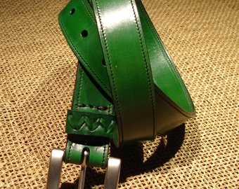 LEATHER HANDMADE BELT / Leather Belt / Belt  Handmade / Belt Accessories / Belt Men / Belt Woman / Belt Unisex / Green Belt Leather.