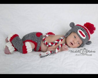 Sock monkey photo prop set hat, diaper cover, leg warmers