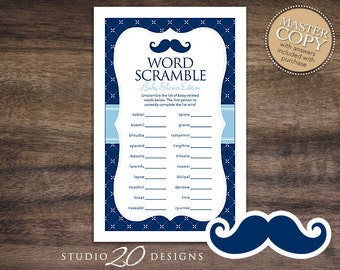 Instant Download Navy Mustache Baby Word Scramble Game, Printable Blue Moustache Word Scramble, Mustache Theme Baby Shower Game 27B