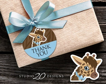 Instant Download Boy Giraffe Thank You Tags, Brown Blue Giraffe Printable Gift Tags, Giraffe Birthday Party or Baby Shower Favor Tags 69B