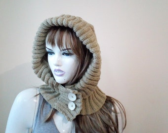 Knitted Hood,Elegant Hoodie, Hooded Hat with Collar-Knit Hood Soft Mixed Wool Woman Hooded Scarf Cowl Fall Winter Accesories