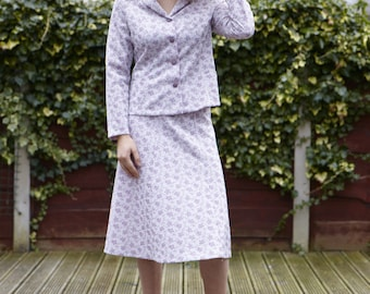 Vintage ladies suit Jacket & Skirt  Lilac pattern Made In England London 1950's