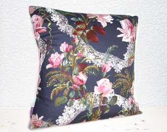 "Handmade Rose Blossoms and Lace Steel Grey/Dusky Pink Pillow Cushion Covers 16""x16"" (indoor)"