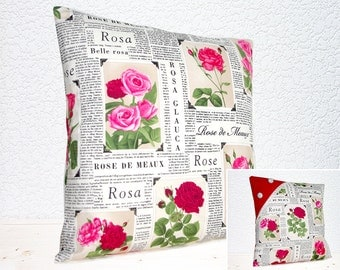 "Handmade 16""x16"" Cotton Cushion Pillow Covers in Romantic Pink/Red Roses & Script in the News Design Print"
