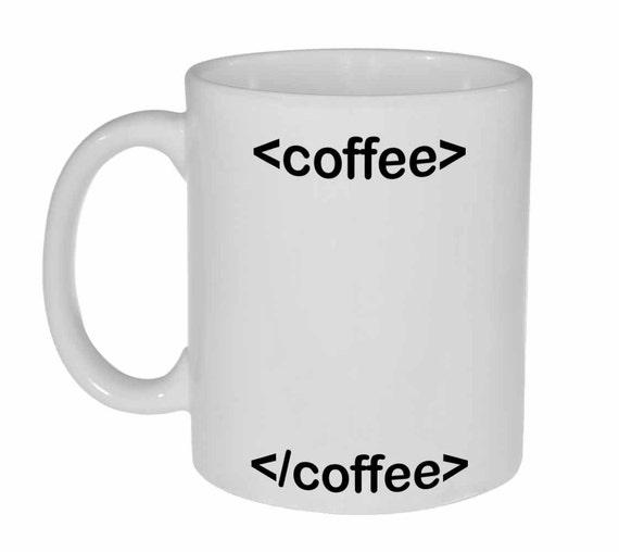 HTML coffee mug - html tags - Funny white ceramic coffee or tea mug