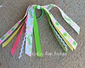 Sweet Citrus Ponytail Streamer - Ponytail Ribbons - Ponytail Holder Ribbons - Ponytail Streamer Ribbons - Cheer Ribbons - Citrus