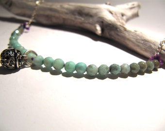 Shadow Sprite: green moss opal and sterling silver bell necklace