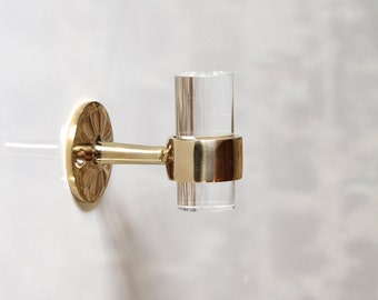 "1"" DIA Lucite Robe Towel Hook -  Polished Brass / Polished Nickel/ Chrome"