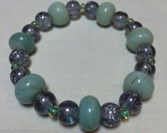 Natural Jade and Shatter Glass Bracelet Set