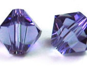 Tanzanite~6 mm Xillion Bicone (5328) Genuine Swarovski crystals. you choose size.