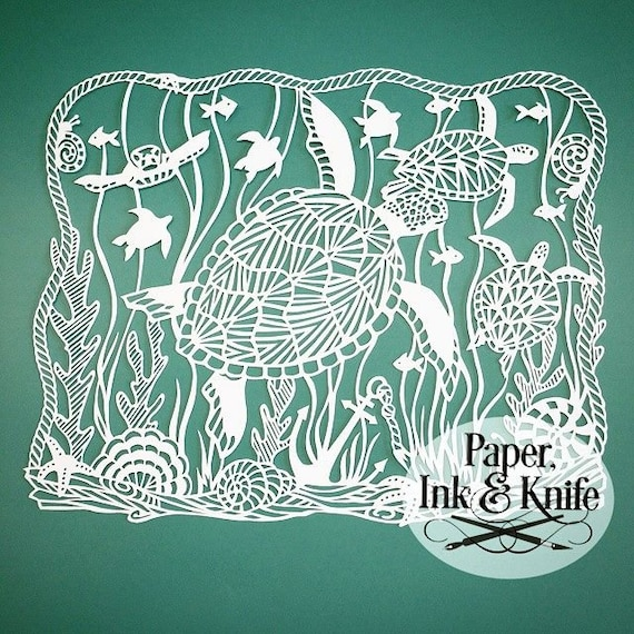 paper cut out art templates - sea turtles papercut template intricate and detailed for the