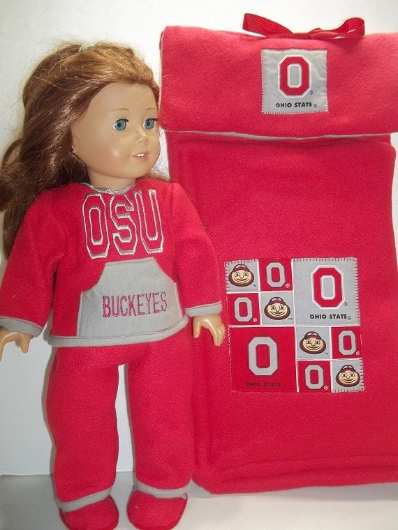 Ohio State Sleeping Bag Pajamas and Slippers for American