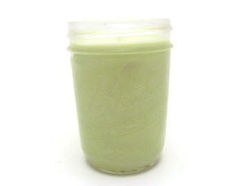 8 Oz, Half Pint Mason Jar Soy Candle - Honeydew Melon, Wedding, Housewarming, Shower Gift, Gifts Under 10