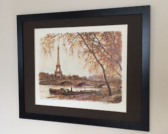 Framed and Mounted Paris La Tour Eiffel Tower Print by Alex Jawdokimov 20''x16''
