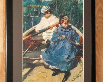 Rowing boat print - Alfred Munnings print, frame 20''x16'', Stranded