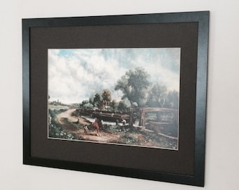 Mounted and Framed View on the Stour - John Constable frame 20''x16'' , vintage print