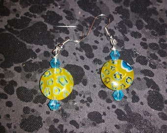 Yellow Millefiori Glass Earrings