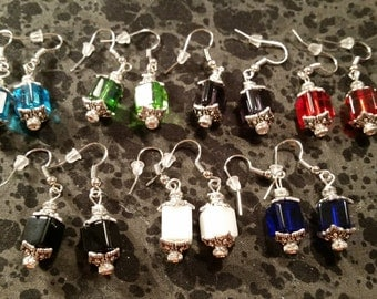 Cube Glass Earrings - Pick Your Color