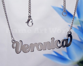Veronica name necklaces. stainless steel. next day ship. never tarnishes. shiny silver color