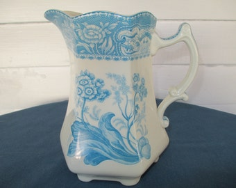 Vintage Blue Transferware Footed Pitcher Water Pitcher I Godinger Dinnerware Transferware Ewer Barware Drinkware Serving China