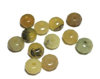 Genuine Faceted Yellow Opal Rondelles 4mm x 5mm