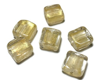 Venetian Murano Glass Square Beads in Gold and Clear 10mm 6pcs