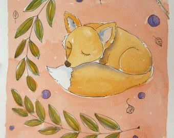 Watercolor on paper. The sweet sleep of Mrs. Fox
