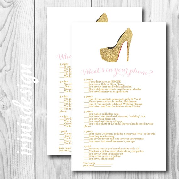 What's In Your Phone Bridal Shower Game Print At Home