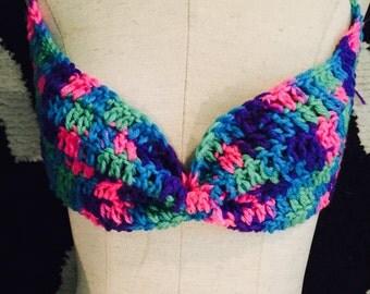 Boho multicolor crochet Bikini top