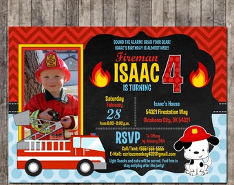 Custom Personalized Firefighter/Fireman Birthday Invitation with picture and Dalmatian Fire Dog!