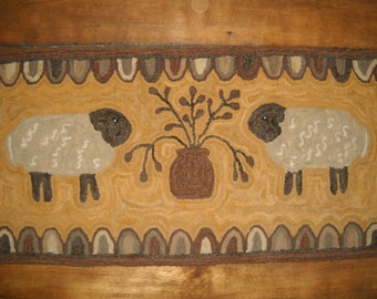 Hand Hooked Handmade Primitive Style Twin Sheep & Tree Wool Rug