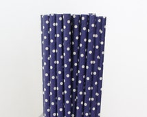 Dark Blue Polka Dot Paper Straws-Dark Blue Straws-Polka Dot Straws-Wedding Straws-Party Straws-Mason Jar Straw-Shower Straws-Paper Straws