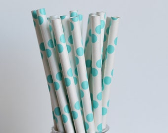 Aqua Blue Polka Dot Paper Straws-Aqua Blue Mason Jar Straws-Baby Shower Straws-Polka Dot Paper Straws-Aqua Blue Party Straw-Wedding Straws