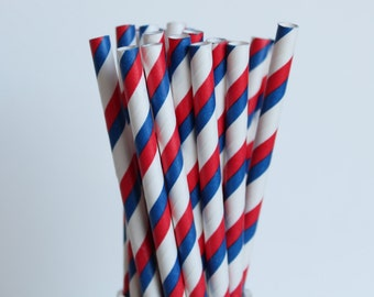 Red White and Blue Striped Paper Straws-Striped Straws-Red Straws-Blue Straws-4th of July-Mason Jar Straws-Party Straws-Patriotic Straws