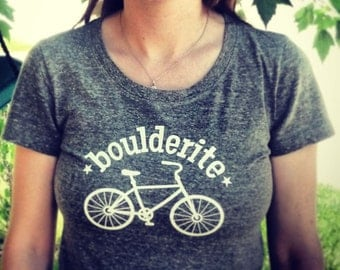 Boulderite women's Boulder Colorado tee. Boulder shirt, womens Bicycle graphic tee, heather grey.