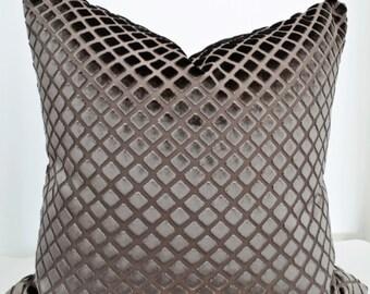 Taupe Velvet Pillow Cover,Velvet Pillow Cover,Geometric Velvet Pillow Cover,Taupe Pillow Cover
