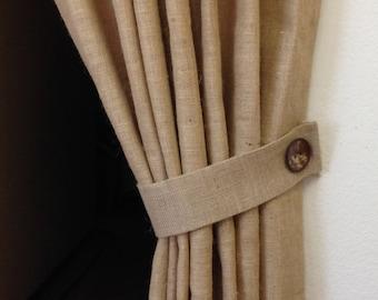 Cortina de arpillera simple shabby chic cortina por pillowpuff - Cortinas de arpillera ...