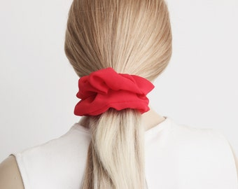 Scrunchie, red ,Hair Fabric Hair Accessory , BUY 3  piece  get 1 scrunchie as gift   , CHOOSE a COLOR