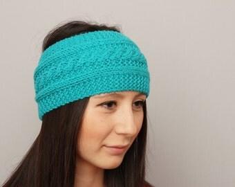 Knitted headband , woman headband  ,ear warmer, aqua