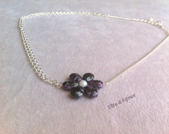 Headband silver jewelry purple flower head pearly white beads