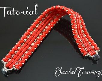 Carmen - beading pattern, beaded bracelet tutorial, superduo bead pattern, rulla bead pattern, beadwoven bracelet  / TUTORIAL ONLY