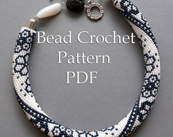 "Pattern for bead crochet necklace ""Winter Lace"" / Bead crochet rope pattern / Bead crochet pattern / Beaded necklace pattern / PATTERN ONLY"