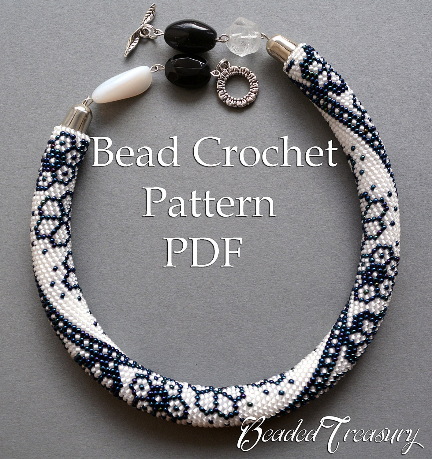 Pattern for bead crochet necklace Winter Lace