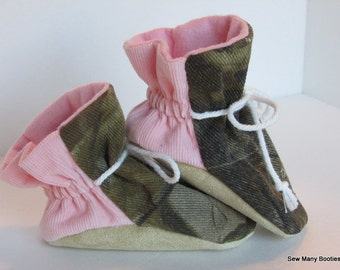 Corduroy & Camouflage Girls Baby Booties Suede Soft Sole