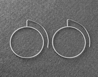 Medium Silver Hoop Earrings, Solid Silver Hoops, Modern Hoop Earrings, Geometric Hoop Earrings, Sterling Silver Hoops, Silver Drop Earrings.