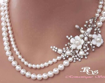 Pearl Bridal necklace Statement Wedding Necklace Pearl Necklace Brooch Wedding Jewelry Bridal Jewelry Wedding Accessories 2124